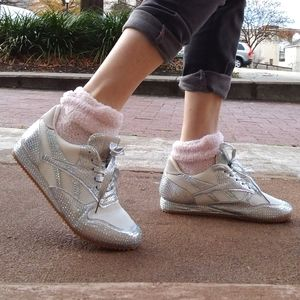Sparkling Bedazzled Silver White Sneakers New